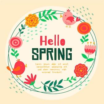 Olá letras de primavera com moldura floral vermelha