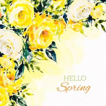 Olá letras de primavera com rosas em aquarela