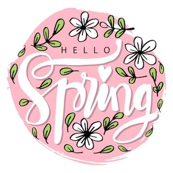 Olá letras de primavera em estilo moderno de caligrafia Vetor Premium