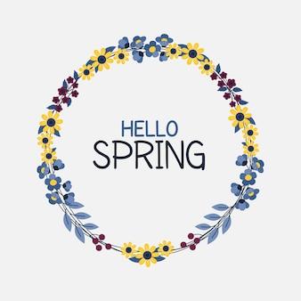Olá letras de primavera em moldura floral