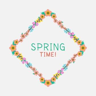 Olá letras de primavera no quadro floral colorido