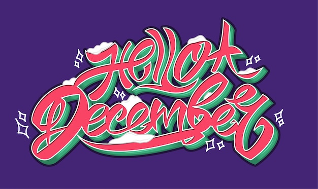 Olá letras de texto colorido fresco arte de dezembro com inscrição decorativa de neve para presentes de feriado remendo de adesivo de cartaz de tipografia impressão tipografia criativa camiseta. caligrafia fonte estilo banner ilustração