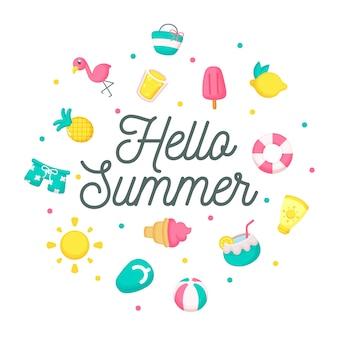 Olá letras de verão com composição de elementos
