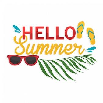 Olá letras de verão com elementos de praia