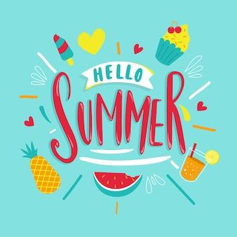 Olá letras de verão com frutas e suco