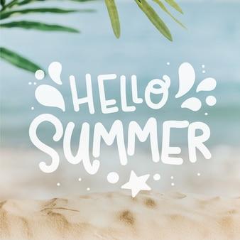 Olá letras de verão com praia