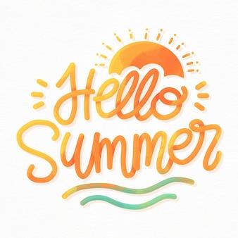 Olá letras de verão com sol e ondas