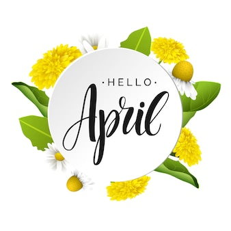 Olá letras de vetor de abril.
