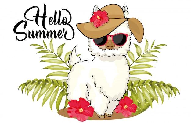 Olá lhama de verão com chapéu