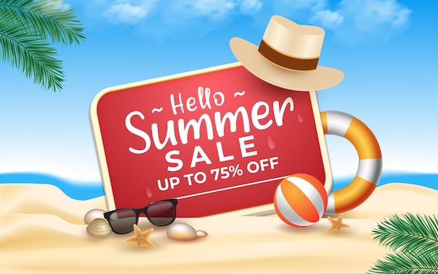 Olá, liquidação de verão com praia de mar e folhas de palmeira com elementos de praia