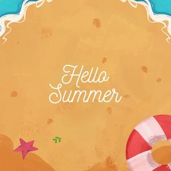 Olá mão desenhada aquarela fundo de verão