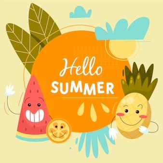 Olá mão desenhada fundo de verão
