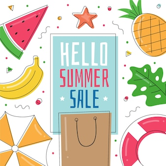 Olá mão desenhada venda de verão
