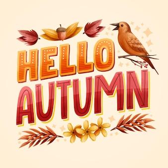 Olá mensagem de outono com elementos sazonais