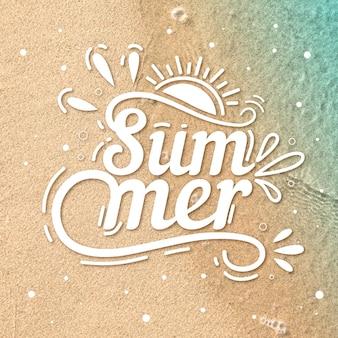 Olá mensagem de rotulação de verão