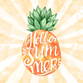 Olá mensagem de verão com abacaxi em aquarela