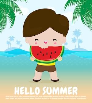 Olá, modelo de banner de horário de verão, crianças lindas segurando melancia e na praia