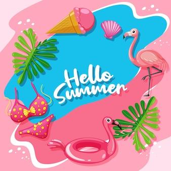Olá, modelo de banner de verão com tema flamingo Vetor grátis