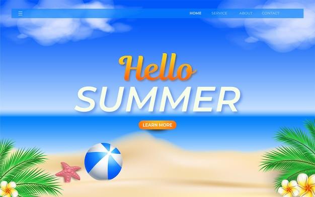 Olá, modelo de design de praia para página de destino de verão