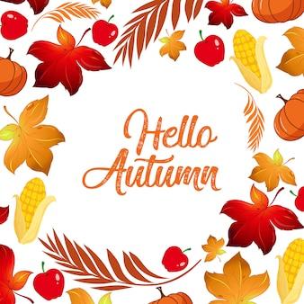 Olá modelo de folha de outono