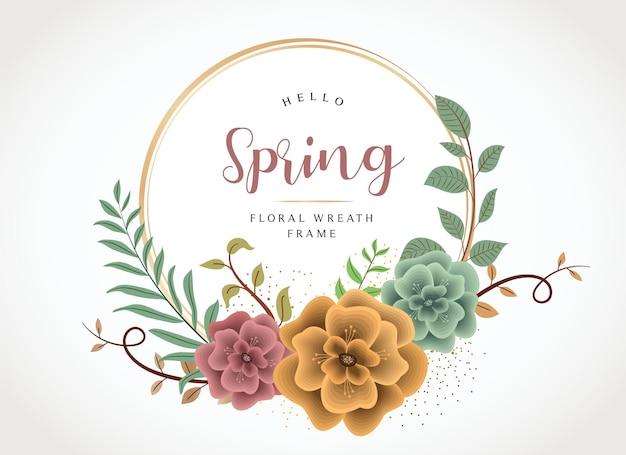 Olá, modelo de grinalda botânica floral mínima de primavera