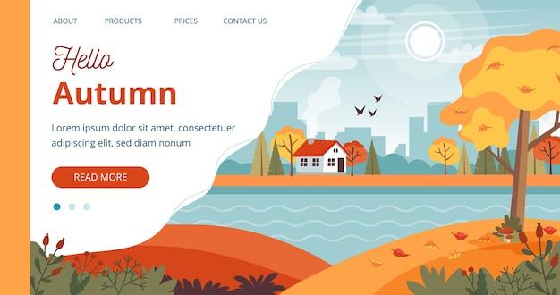 Olá modelo de outono, paisagem com linda casa e letras.