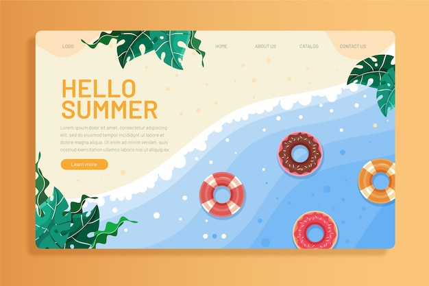 Olá modelo de página de destino de verão com foto