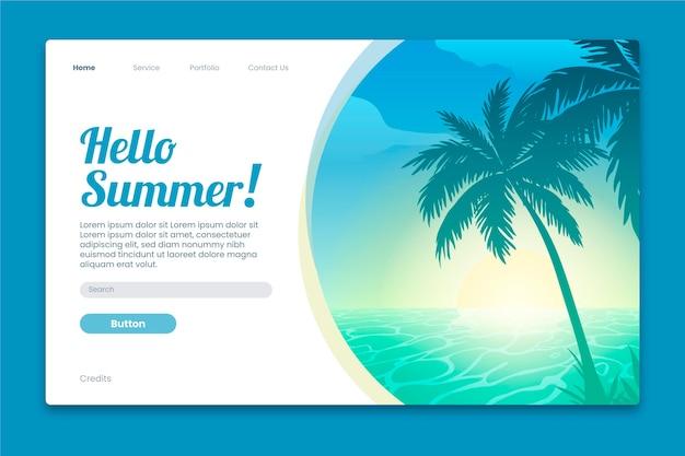 Olá modelo de página de destino de verão
