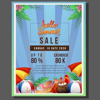 Olá modelo de venda de panfleto de verão com borda de guarda-chuva de praia