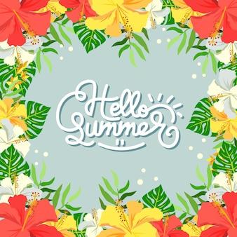 Olá moldura de hibisco de verão