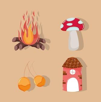 Olá mushroom outono fogueira e nozes