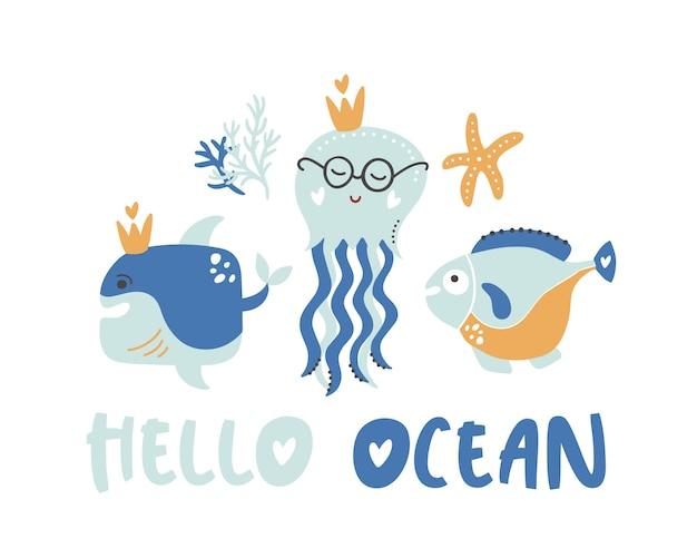 Olá oceano verão crianças cartaz.