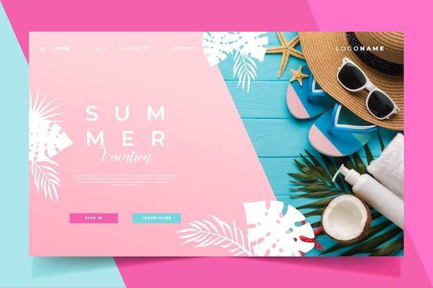 Olá óculos de sol da página de destino do verão
