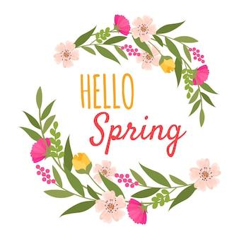 Olá ornamento de primavera com flores