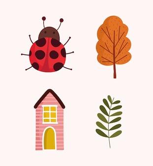 Olá, outono, a árvore de joaninha da casa deixa ícones de folhagem.