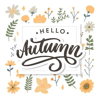Olá outono. adeus, caligrafia de tendência de verão. cartão de felicitações