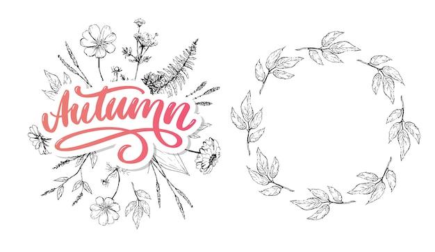 Olá outono. adeus, caligrafia de tendência de verão.