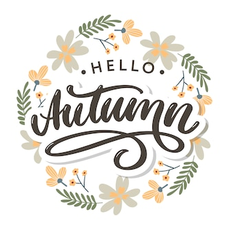 Olá outono. adeus verão. a tendência de caligrafia. ilustração no fundo das folhas de outono. publicidade de outono do conceito.