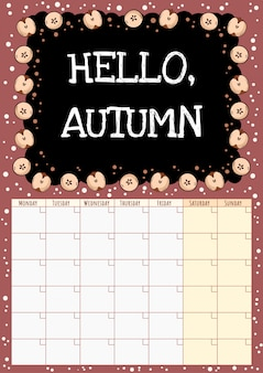 Olá outono. calendário mensal de lousa com corte em elementos de maçãs metade.