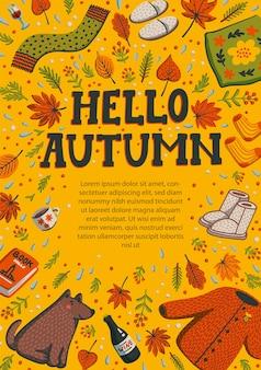 Olá outono cartão amarelo