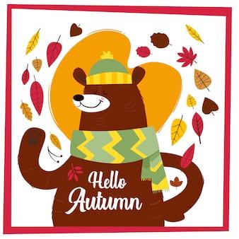 Olá outono. cartão desenhado de mão criativa com fofo urso grande
