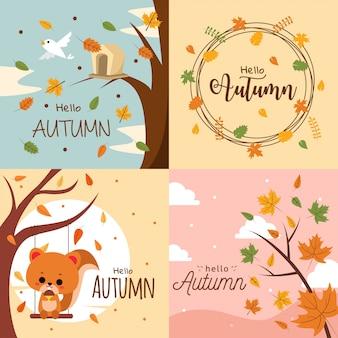 Olá outono coleção de ilustração de fundo