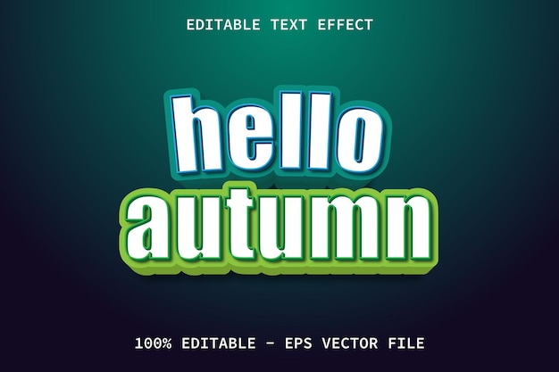 Olá, outono com efeito de texto editável no estilo desenho animado moderno