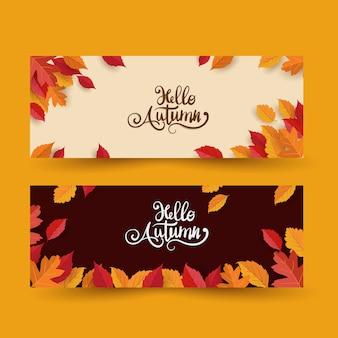 Olá outono com folhas conjunto banner