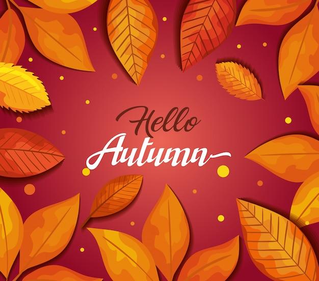 Olá outono com folhas de cartão postal