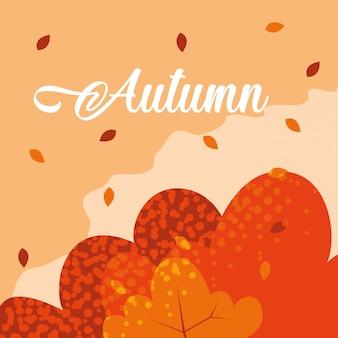 Olá outono com folhas padrão