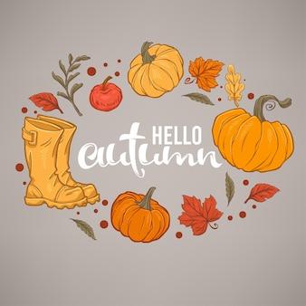 Olá, outono, composição de letras desenhadas à mão e desenho de objetos de outono em fundo cinza