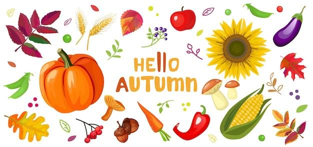 Olá outono conjunto com cogumelos girassol abóbora e folhas caindo