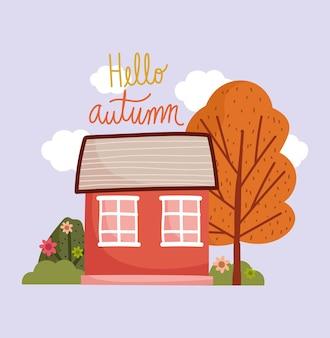 Olá outono, desenho animado da natureza da folhagem das flores da árvore da casa rústica.