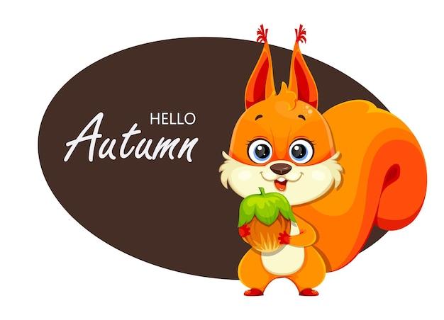 Olá outono. esquilo fofo fofo segurando a porca, personagem de desenho animado. ilustração em vetor de estoque isolada no fundo branco